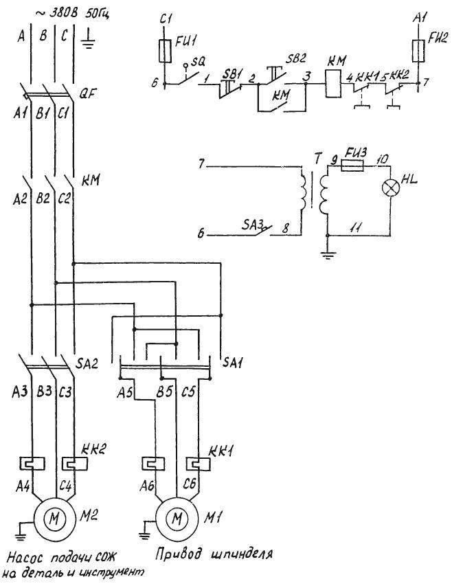Электрооборудование и монтажная схема фрезерного станка СФ676.